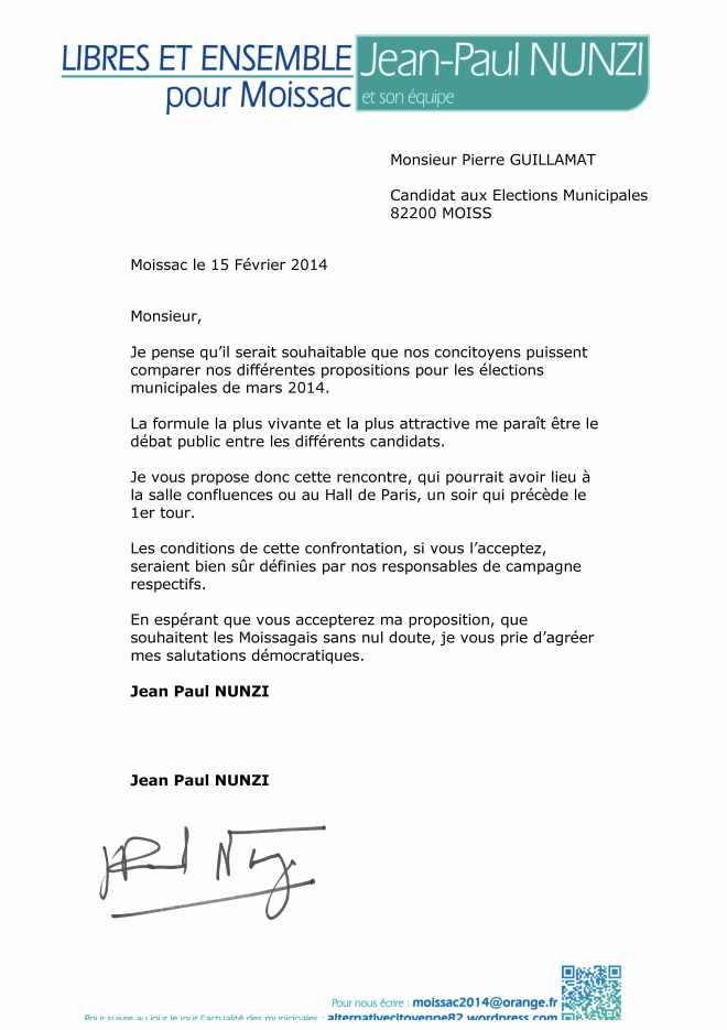 lettre 15 Février 2014